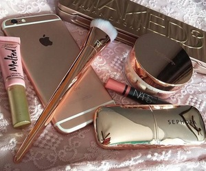 iphone, makeup, and gold image