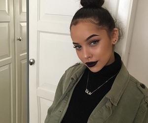 girl, makeup, and green image