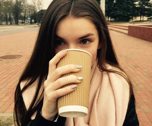 brunette, cup, and girl image
