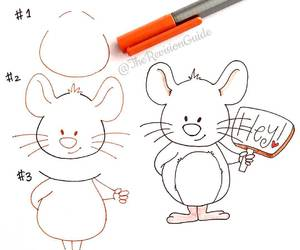 animal, drawing, and mouse image