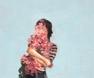 flower, girl, and paint image