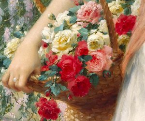 flowers, painting, and roses image