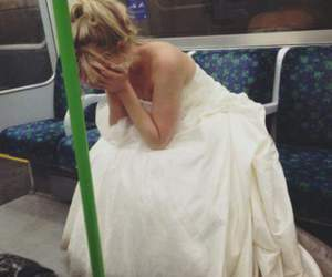 sad, bride, and wedding image