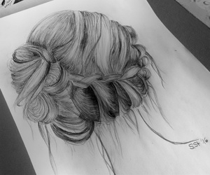 drawing, hair, and zeichnung image