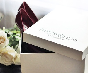 box, flowers, and heels image