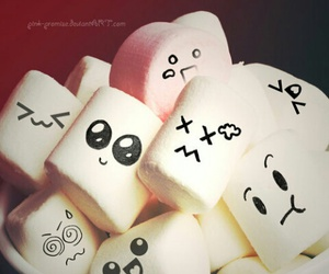 marshmallow, face, and sweet image