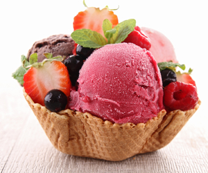 food, ice cream, and strawberry image