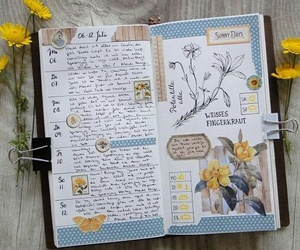journaling, smashbook, and flowers image