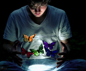 butterfly and boy image