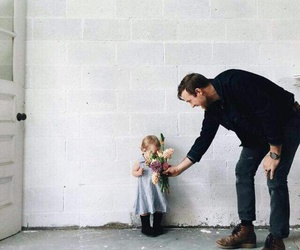 dad, flowers, and daughter image