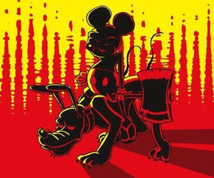 mickey mouse, red, and dark disney image