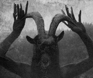 black and white, dark, and satan image