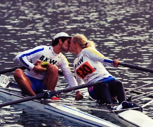 kiss, rowing, and love image