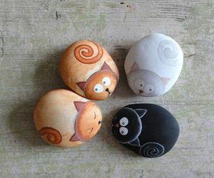 cat, stone, and art image
