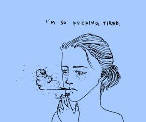 tired, smoke, and art image