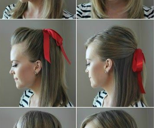 hair, hairstyle, and ribbon image