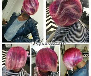 bob cut, colorful, and pink image