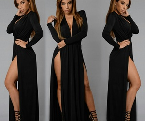 black dress, fashion nova, and spree dress image