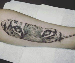 tattoo, eyes, and feather image