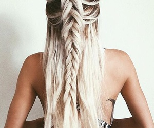 blonde, braid, and straight hair image