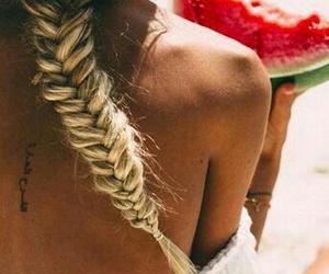 beach, sun, and watermelon image