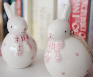 book shelf, bunny, and easter image