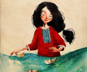 art, girl, and sea image