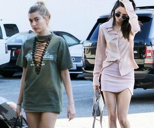 kendall jenner, hailey baldwin, and fashion image