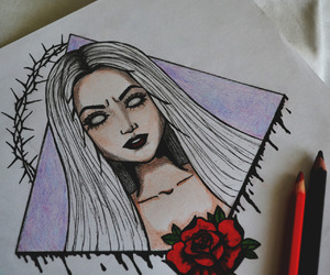 drawing, girl, and grunge image