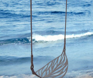 swing, beach, and ocean image