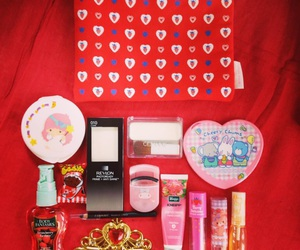 cosmetics, red, and sanrio image