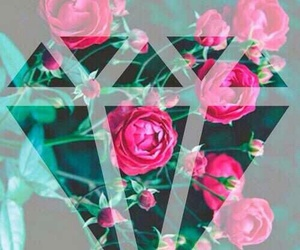 diamond, flowers, and wallpaper image