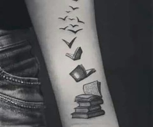 book, tattoo, and birds image