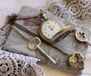 key, vintage, and clock image