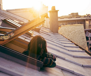 girl, sun, and roof image