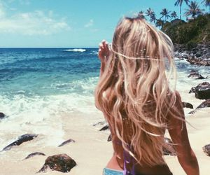 summer, beach, and hair image