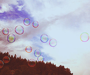 bubbles, clouds, and sky image