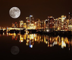city, moon, and vancouver image