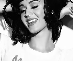 katy perry, black and white, and singer image