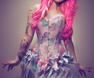 tattoo, pink, and pink hair image