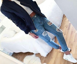 blue, jeans, and riped jeans image