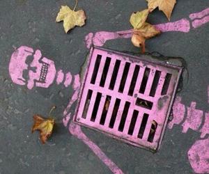 pink, skeleton, and art image