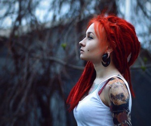 tattoo, red hair, and piercing image
