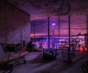 grunge, city, and purple image