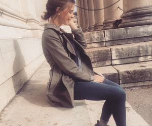 beige, bun, and jeans image
