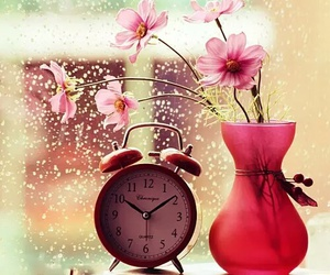 flowers, clock, and pink image