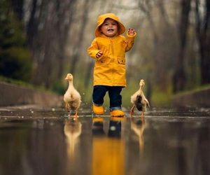 duck, rain, and kids image