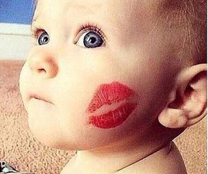 baby, kiss, and eyes image