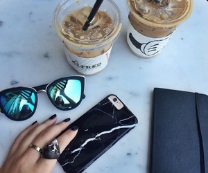 sunglasses, coffee, and iphone image