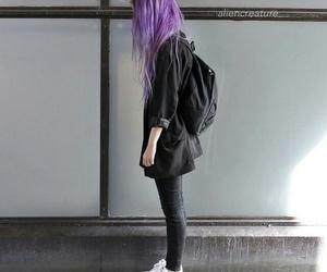 hair, grunge, and black image
